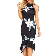 Women Sexy Bodycon Midi Fishtail Dress,Flower Print Summer Party Sleeveless Dress M