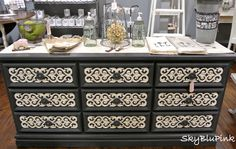 Graphite & Old White Dresser. (I'm thinking to get this same look, you could Modge Podge lace on dresser drawers.)