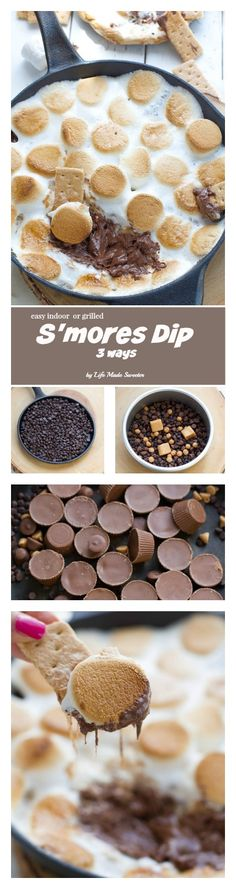 Easy Skillet Indoor S'mores Dip made 3 ways & easily comes together in 10 minutes. Perfect summer treat without the campfire & as simple as just 3 ingredients. Choose to make it with chocolate chips, Reese's peanut butter cups or a caramel filling with Rolos.