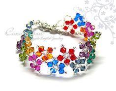 Swarovski Bracelet, Dark Berry Multiflora Swarovski Crystals Bracelet by CandyBead