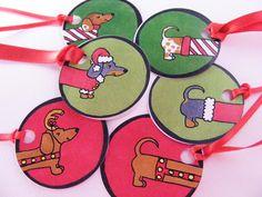 Christmas Dachshund Gift Tags