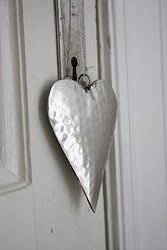 3 D silver hammered metal heart - hanging from lock hole