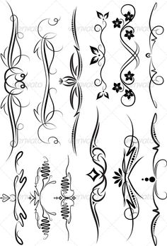 Set Beautiful Design Elements Different Use Stock Vector (Royalty Free) 64757368 Tattoo Design Drawings, Tattoo Designs, Stencil Designs, Designs To Draw, Kunst Online, Tattoo Bracelet, Wood Burning Patterns, Scroll Design, Border Design