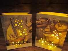 2 Luminaries, Where Wild Things Are, Medium Sized Luminaries, Fashioned From Book Pages, Where The Wild Things Are Party Decor, Halloween on Etsy, $16.00