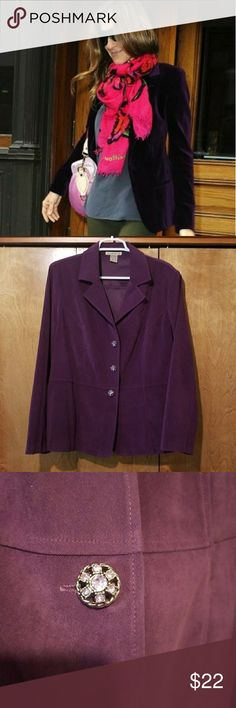 Purple blazer 18 Gorgeous purple blazer (looks like suede) with jeweled buttons and fitted silhouette. Not lined, no pockets. Perfect condition, has stretch.   Fits woman's size -18.   Bust 47 Length 27 Jackets & Coats Blazers