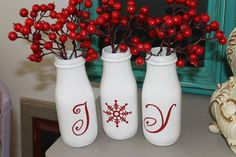 """O my goodness, this is so cool!..""""Christmas Decor Starbucks bottles painted white with letters and red holly berries."""""""