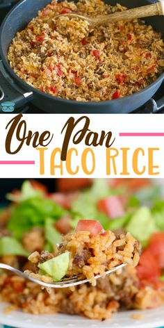 One Pan Taco Rice Dinner recipe is a whole meal in one. Ground beef, taco season… One Pan Taco Rice Dinner recipe is a whole meal in one. Ground beef, taco seasoning, salsa, rice and cheese. A family favorite meal! One Pot Meals, Easy Meals, One Skillet Meals, Mexican Food Recipes, Healthy Recipes, Easy Recipes, Dinner Recipes With Rice, Yummy Dinner Ideas, Recipes For One