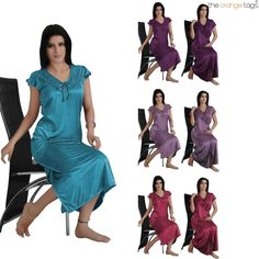 LADIES NIGHTIE SATIN SHORT SLEEVE WOMENS NIGHTWEAR SET ROBE PLUS SIZE 2PC SET
