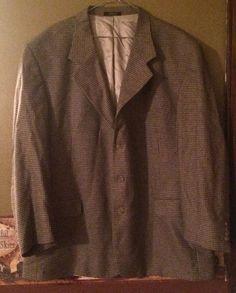 Hardwick clothes Mens Blazer Vintage Plaid Vgc 48 Regular Blue & Tan Lined #Hardwick #ThreeButton