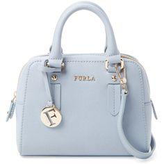 Furla Furla Women's Elena Mini Saffiano Leather Satchel - Light/Pastel... ($179) ❤ liked on Polyvore featuring bags, handbags, mini satchel handbags, handbag satchel, blue purse, mini purse and mini satchel