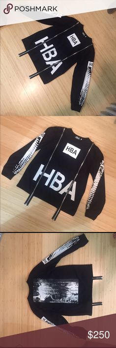HBA Double Zipper Sweatshirt (HOOD BY AIR) Hey guys. This is a pretty much brand new authentic HBA sweatshirt. My boyfriend bought it off of the HBA website and gave it to me because it was too small for him (he wore it once). It has two HBA logos on the front along with two zippers that extend all the way down. The sleeves and the back of the sweatshirt have X-RAY graphics. This sweatshirt is an XXL but it seems like it might run a little since it was small on my bf. if you have any…
