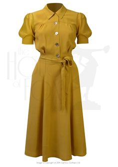 1940s Style Shirt Waister Dress in Mustard Crepe