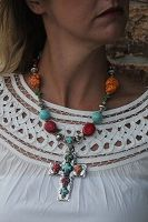"""""""Handmade Multistone Color Necklace with Cross Pendant""""  $44.99"""