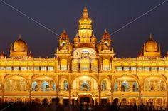 Maharaja Palace, Mysore Palace, illumination at night, Mysore, Karnataka, South India, India, South Asia, Asia Stock Photo. Veer.com