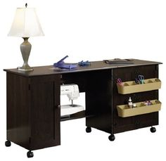 Craft Sewing Table Desk W/ Shelves Organizer Home Office Room Multiple  Finishes #Sauder #