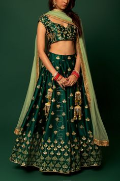 Green lehenga with kalira embroidery paired with co-ordinated embrodiered blouse(unstitched) & sheer net dupatta Indian Wedding Gowns, Indian Gowns Dresses, Indian Bridal Outfits, Indian Bridal Lehenga, Indian Bridal Wear, Bridal Dresses, Green Lehenga, Lehenga Choli, Anarkali