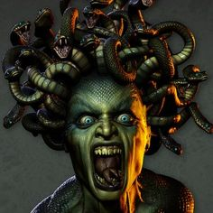 Medusa without coffee  Greek Medusa | Greek Mythology describes Medusa as having snakes for hair and a face ...