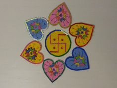 Handmade one minute set up rangoli in vibrant colours made from foam sheets