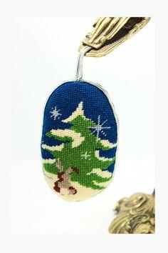 Vintage Needlepoint Ornament Christmas - Handmade Christmas Tree, Snowflakes, Bunny Ornament- Velvet Back, Pillow Ornament - Retro Gift by VintageLostButFound on Etsy