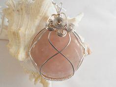 Wire Wrapped Pendant Rose Quartz Necklace Handmade by elainesgems, $22.00