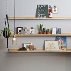 Vägghyllor & hängande hyllor - Fotorhylla Morehouse (Set of Wayfair. Oak Shelves, Floating Wall Shelves, Wooden Shelves, Display Shelves, Inspiration Wall, Interior Inspiration, Frame Shelf, New Room, Decoration