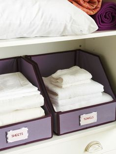 Trouble Spot: Guest Bathroom--Fast fix: Use fabric storage totes to keep stacks of towels and sheets neat and separated. Label the bins and closet shelves for easy organization. Inside drawers, stock drawer dividers with extra soaps, toothpaste, toothbrushes, shampoo, and lotion.