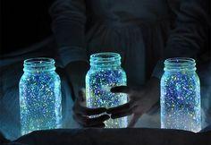 Home-Dzine - Glow in the dark glass jars