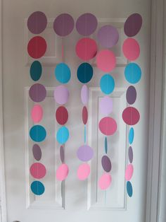 Paper Garland, Pink, Purple, and Teal Decorations, Abby Cadabby Birthday Purple Birthday, Elmo Birthday, Girl Birthday, Frozen Birthday Party, Frozen Party, 3rd Birthday Parties, Teal Party, Pink Purple Party, Teal Decorations