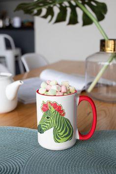 Unique watermelon zebra design. Morning Coffee, White Ceramics, Watermelon, Mugs, Unique, Tableware, Red, Etsy, Design
