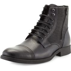 Rw Footwear Edgar Leather Double-Zip Boot ($99) ❤ liked on Polyvore featuring men's fashion, men's shoes, men's boots, men, shoes, black, mens black leather shoes, robert wayne mens shoes, mens zipper boots and mens leather shoes