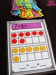 Making a 10 to Add Bookmark this page for a lot of awesome first grade math ideas - this one is all about addition to 20 but there are ideas for almost every concept Elementary Math, Kindergarten Math, Teaching Math, Math Stations, Math Centers, 1st Grade Centers, Fun Math, Math Activities, Addition Activities