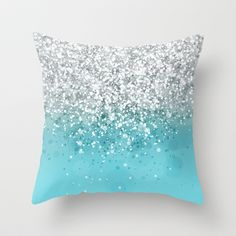 turqiouse and silver throw pillow