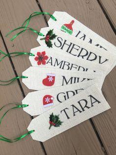 Handmade Burlap stocking name tags
