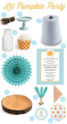 Planning a fall baby shower gender reveal or have a lil pumpkin with a fall birthday? Here are 12 party ideas to get you started! | curated by @deanna hughes at Mirabelle Creations for thecelebrationshoppe.com #babyshower #fall #party