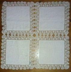 Centrotavola con stoffa in lino e uncinetto fatto a mano 60 x 60 cm | eBay