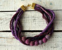 Felted necklace,purple felt necklace,felt rope collar fiber statement necklace,Felt Ball wool necklace,gift,felt jewelry for women