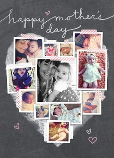 Cardstore makes it easy to personalize and mail Mother's Day cards like Photo Collage Heart Mother's Day Card card. Just add your own photos, text and a signature to a sweet Mother's Day cards and we'll mail it for you! Mother And Father, Mother Day Gifts, Mom Day, Mothers Day Cards, Chalkboard Art, Invitation, Homemade Crafts, Creative Gifts, Craft Gifts