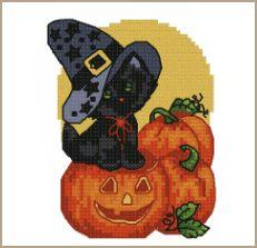 Free Printable Cross Stitch Patterns | Free Halloween Kitty Cross-Stitch Pattern - ABC Free Cross-Stitch ...