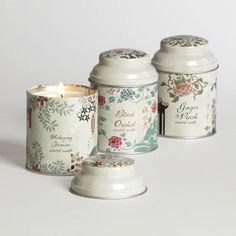 One of my favorite discoveries at WorldMarket.com: Filled Asian Tea Candle Tins, Set of 3
