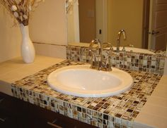 Picture Just The Vanity Edge Done In Mosaic Gl Tile Like This With A Solid