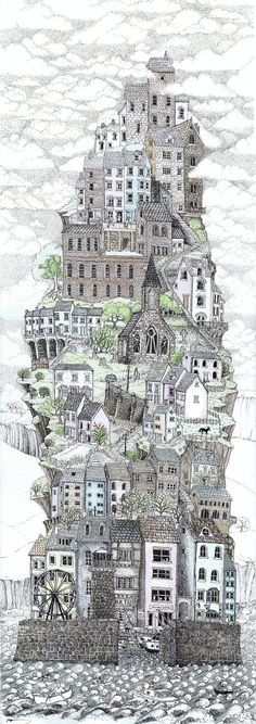 """Just found this lurking in a pile of old work.....my first ever """"tall town"""" done a few years ago.....hopefully I have improved since then Ink line drawing ( rotring 0,13 0.25) and watercolour paint..."""