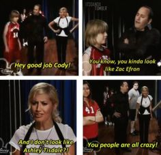 the HSM episode of the Suite Life of Zack and Cody>>>>it's actually Ashley Tisdale and they said she didn't look like her Tv Quotes, Movie Quotes, Funny Quotes, Funny Memes, Hilarious, Ashley Tisdale, Pixar, Zack Y Cody, Zack And Cody Funny
