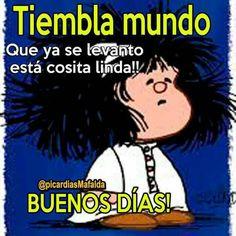 Mafalda Good Morning Good Night, Morning Wish, Morning Morning, Spanish Humor, Spanish Quotes, Funny Picture Quotes, Funny Pictures, Tumblr Funny, Funny Memes