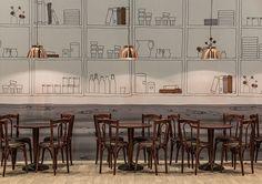 Aryzta Messestand. Design by Konform. Zürich, 2015 Cake Shop Interior, Interior Styling, Interior Design, Cafe Restaurant, Restaurant Design, Elephant And Castle, Exhibition Display, Wall Bar, Shop Interiors