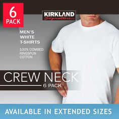 e8292d191 Kirkland Signature Men's Crew Neck Tee 6-pack White (Select Size) *Fast