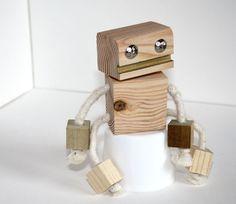 Block Bot Wooden Toy Robot. $8.00, via Etsy.
