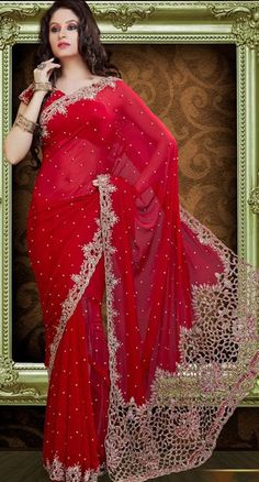 $333.72 Red Cut and Stone Work Faux Georgette Bridal Saree 23382