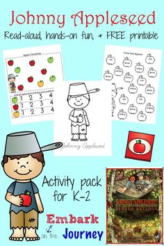 Johnny Appleseed read-aloud, FREE printable, and hands-on fun for grades K-2! | embarkonthejourney.com