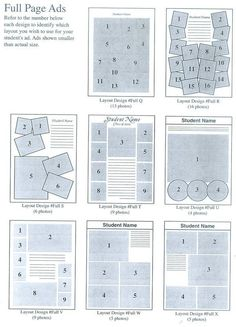 Image: Full Page Ads: Refer to the number below each design to identify which layout you wish to use for your student's ad. Ads shown are smaller than actual size. Yearbook Design Layout, Ad Layout, Yearbook Layouts, Brochure Layout, Yearbook Ideas, Corporate Brochure, Brochure Design, Senior Yearbook Ads, Yearbook Pages