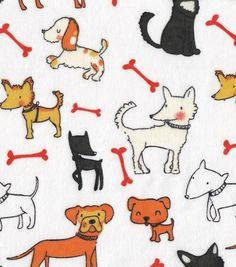 Snuggle Flannel Fabric-Dog Friends